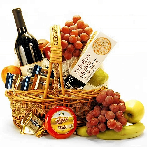 christmas wine fruit cheese basket s floral designz st